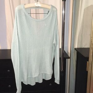 Oversized open crochet knit sweater with open back